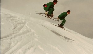 The flying twin skiers : Rhona & Rhoda Wurtele