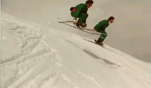 The flying twin skiers : Rhona & Rhoda Wurtele